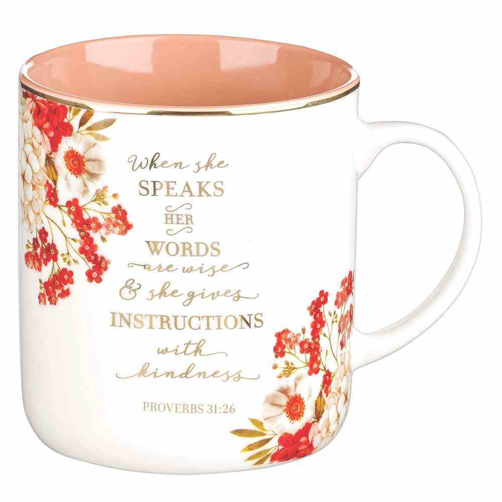 Ceramic Mug White Outer, Peach Inner, Floral and Gold Accents (Proverbs 31: 26) (When She Speaks Collection) Homeware