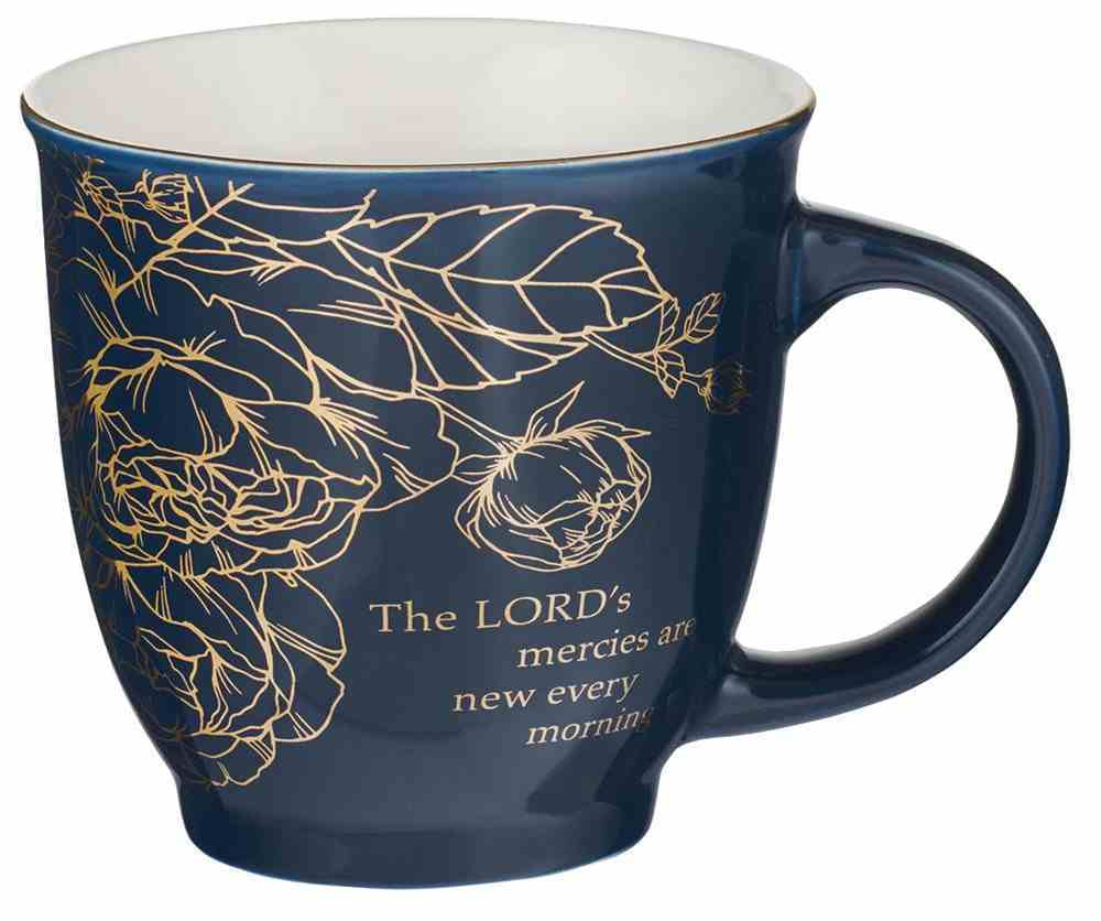 Ceramic Mugs 414ml: Floral Blue & White With Gold (The Lord, He Has Made) (Set Of 2) Homeware