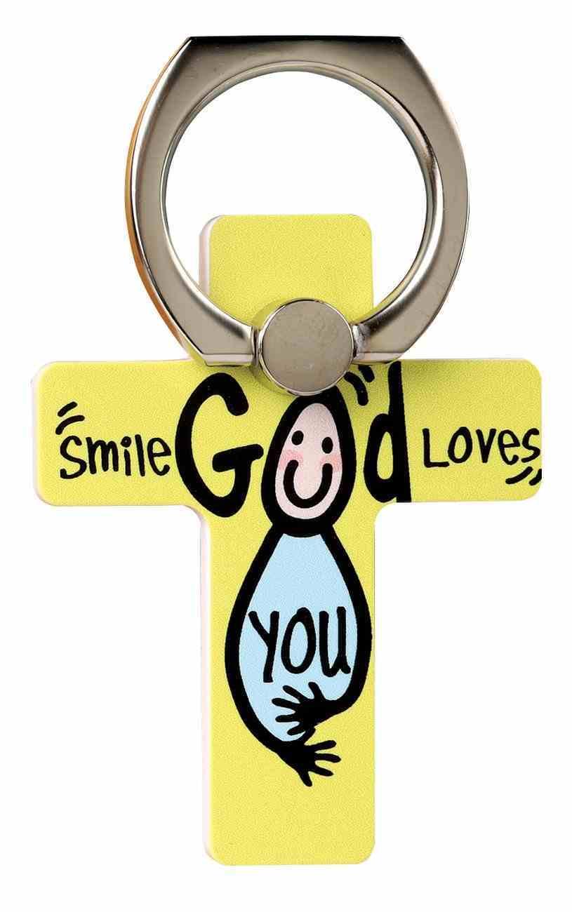 Mobile Phone Cross Ring Holder/Stand: Smile God Loves You Undefined