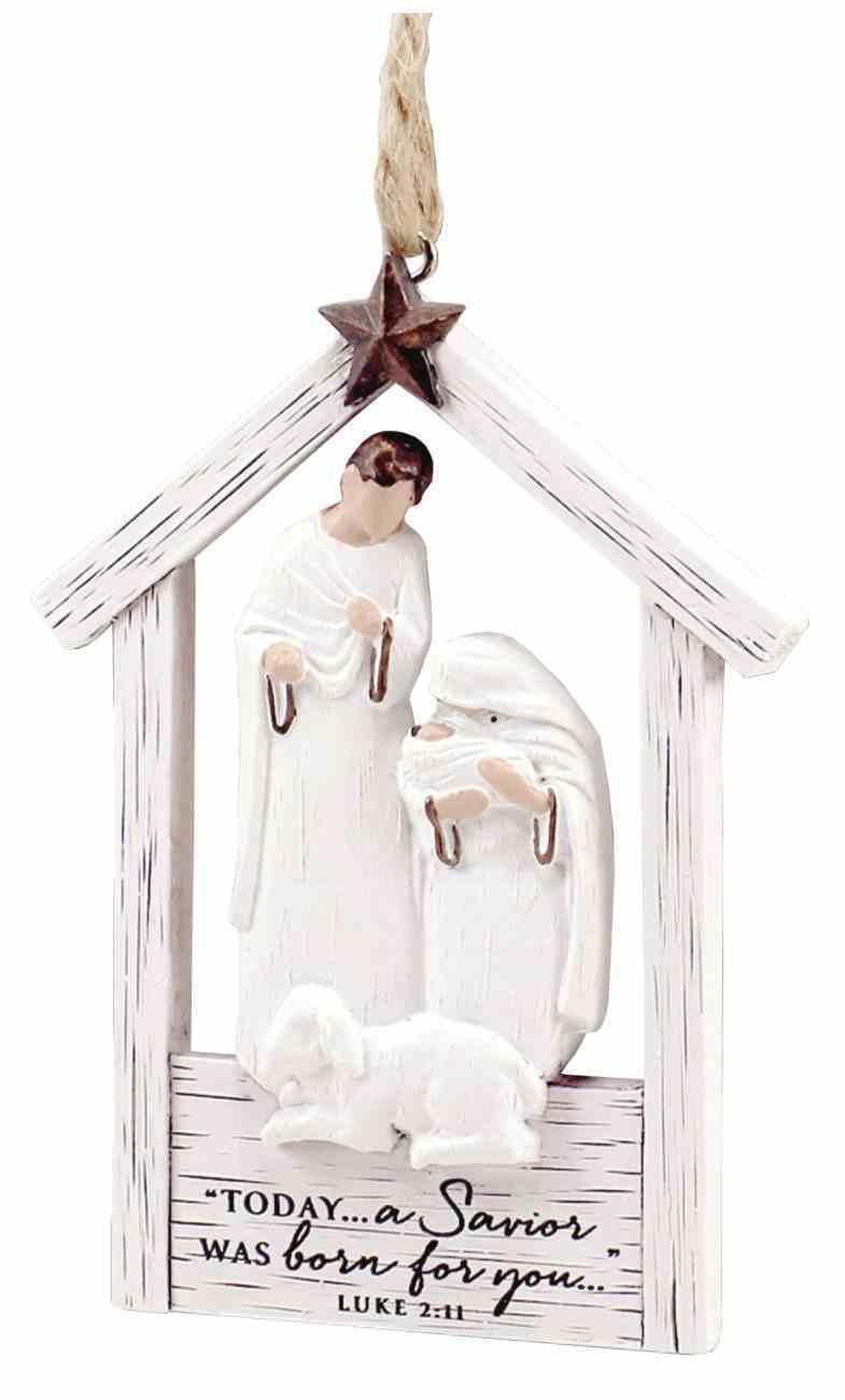 Christmas Mdf/Resin Ornament: Rustic Holy Family Creche, Luke 2:11 Homeware