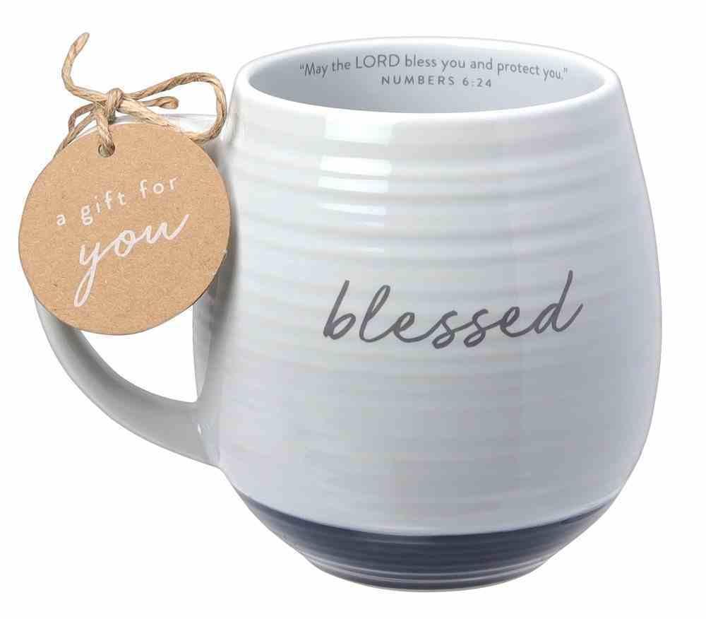 Ceramic Mug: Blessed (Numbers 6:24) White Texture, Navy Bottom (473ml) Homeware