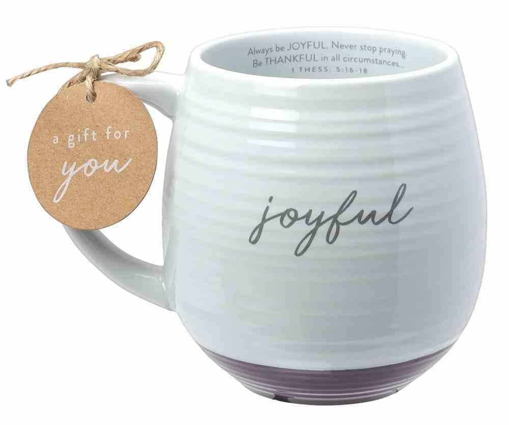 Ceramic Mug: Joyful (1 Thess 5:16-18) White Texture, Purple Bottom (473ml) Homeware