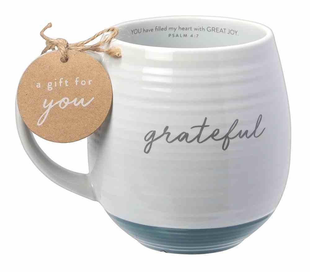 Ceramic Mug: Grateful (Psalm 4:7) White Texture, Green Bottom (473ml) Homeware