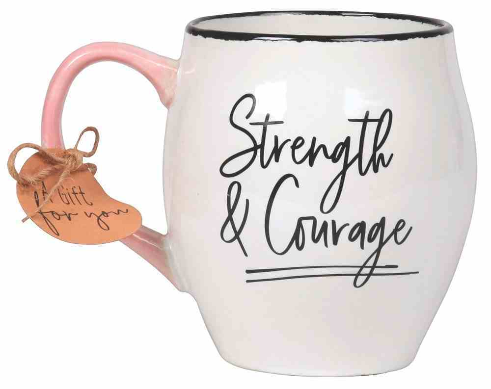 Ceramic Mug Touch of Color: Strength & Courage, White/Light Pink/Black, Joshua 1:9 Homeware