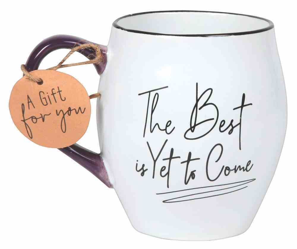 Ceramic Mug Touch of Color: The Best is Yet to Come, White/Purple/Black, Philippians 1:6 Homeware