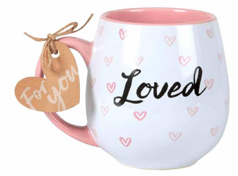 Ceramic Mug Happy Heart: Loved, Pink (1 Cor 13:7-8) Homeware