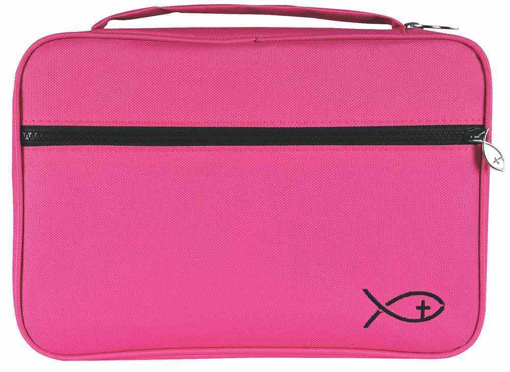 Bible Cover Deluxe With Fish Symbol: Fuchsia Large Bible Cover