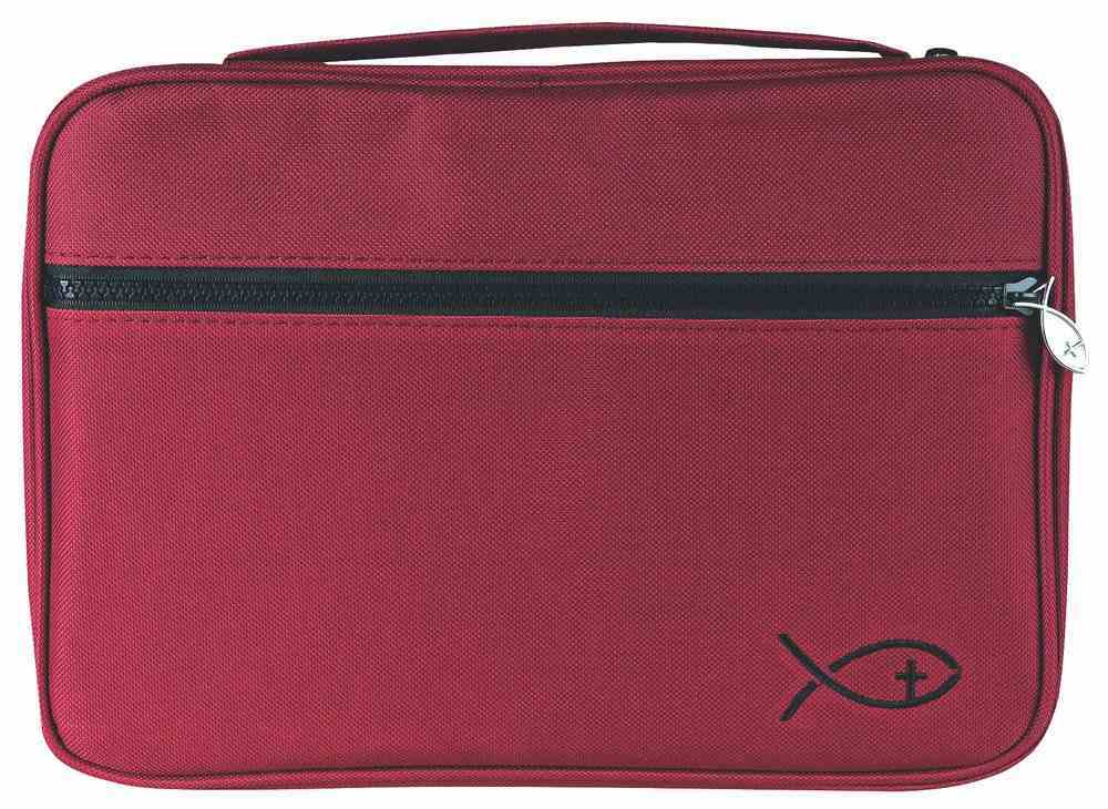 Bible Cover Deluxe With Fish Symbol: Burgundy Xlarge Bible Cover