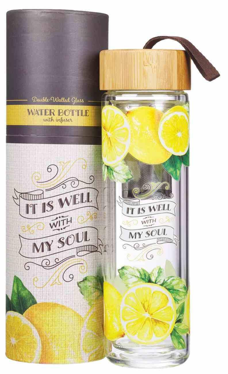 Glass Infuser Water Bottle Well With My Soul, Lemons (444ml) Homeware