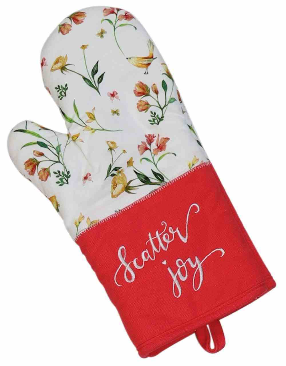 Oven Mitt- Scatter Joy, Pink With Embroidery, White Floral (Scatter Joy Collection) Soft Goods