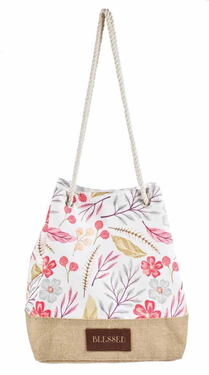 Poly-Canvas Tote Bag With Cotton Handles: Blessed, 2 Sided Printing Soft Goods