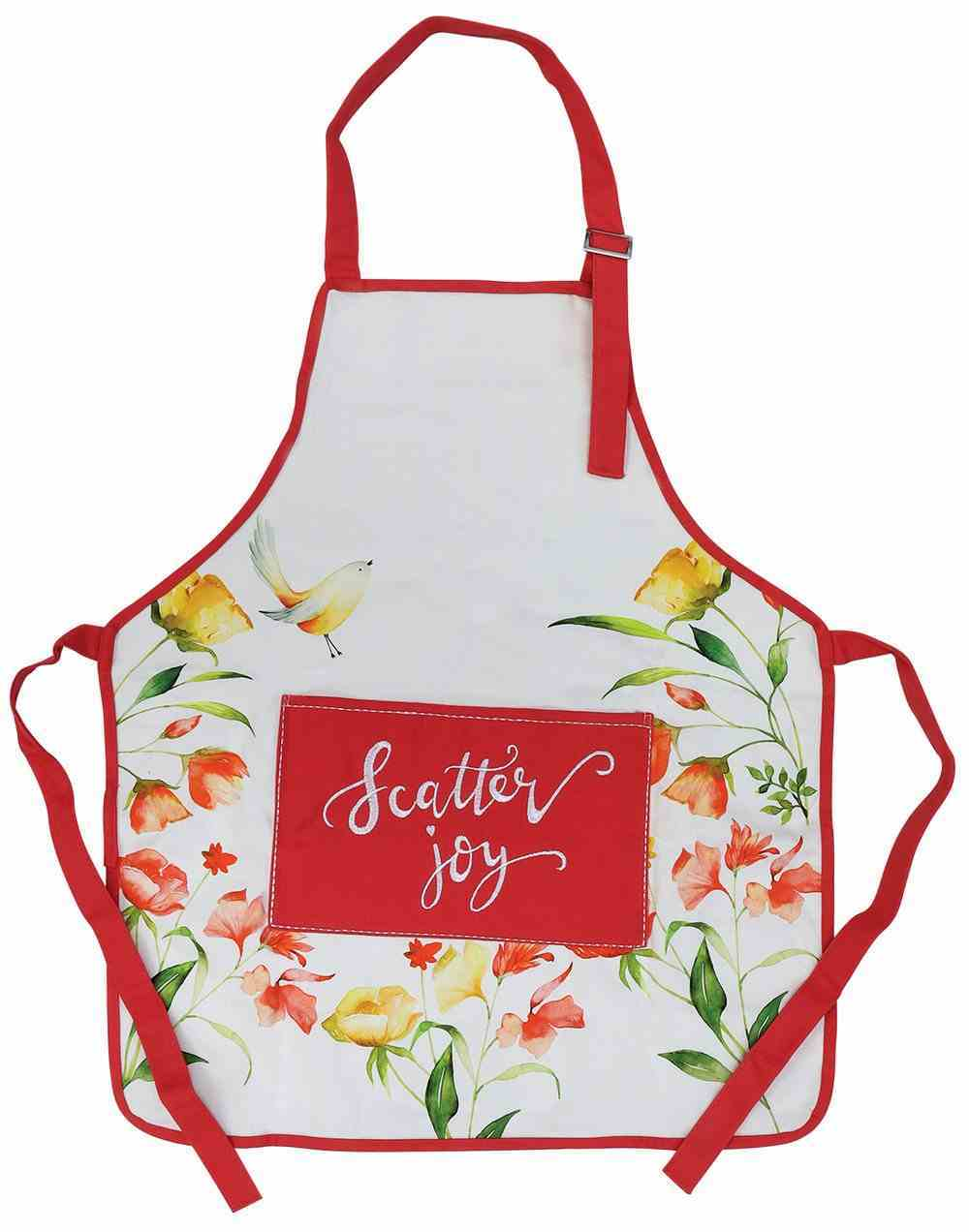 Apron- Scatter Joy, White With Pink Embroidered Pocket and Trim, Floral (Scatter Joy Collection) Soft Goods