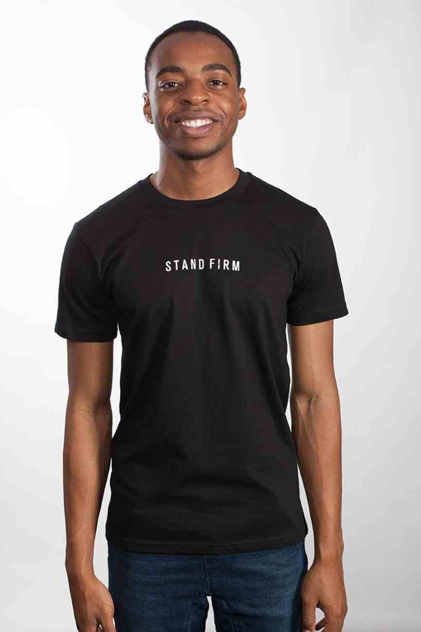 Mens Staple Tee: Stand Firm, 2xlarge, Black With White Print (Abide T-shirt Apparel Series) Soft Goods