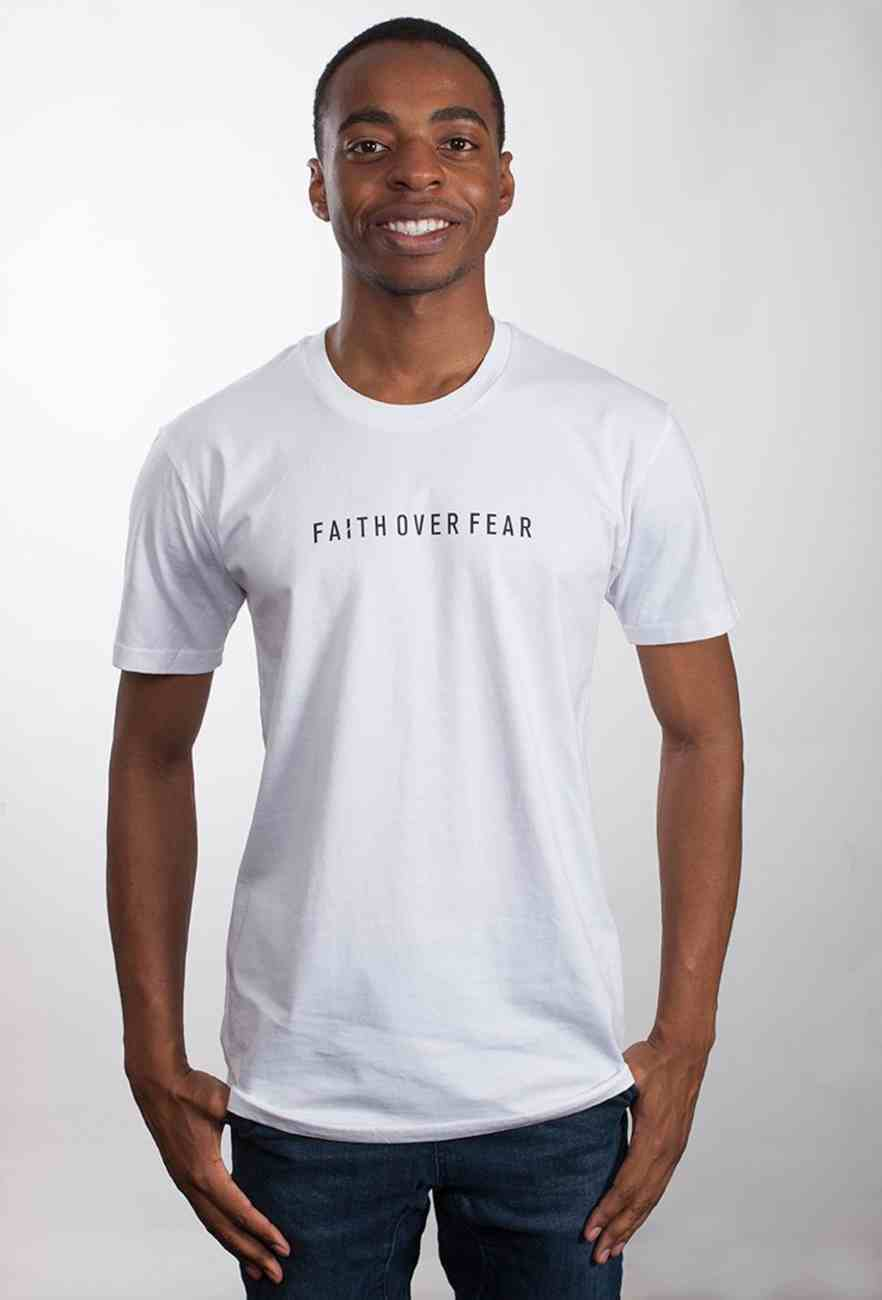 Mens Staple Tee: Faith Over Fear, Large, White With Black Print (Abide T-shirt Apparel Series) Soft Goods