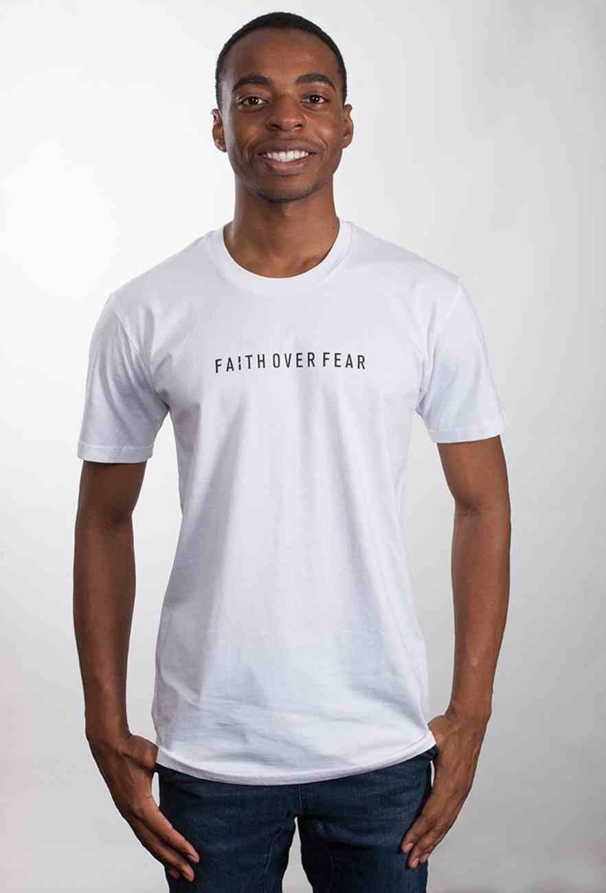 Mens Staple Tee: Faith Over Fear, Xlarge, White With Black Print (Abide T-shirt Apparel Series) Soft Goods