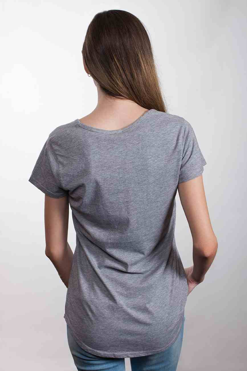 Womens Mali Tee: Grace Wins, Small, Grey Marle With White Print (Abide T-shirt Apparel Series) Soft Goods