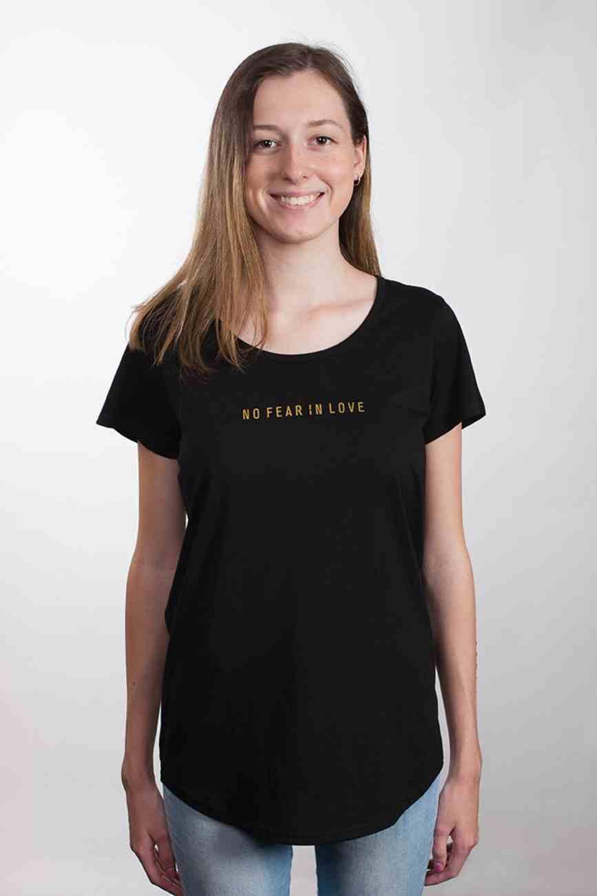 Womens Mali Tee: No Fear in Love, 2xlarge, Black With Gold Metallic Print (Abide T-shirt Apparel Series) Soft Goods