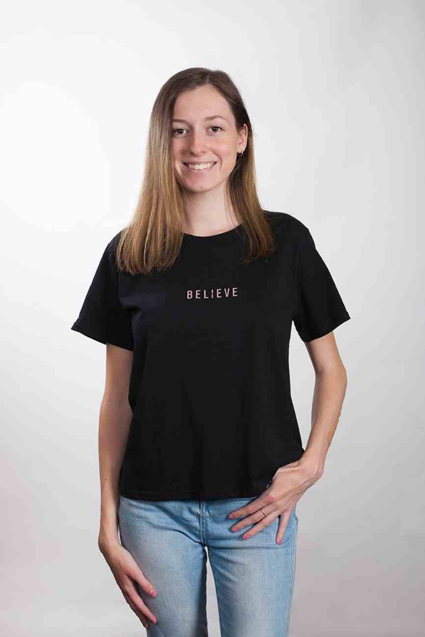 Womens Cube Tee: Believe, Xlarge, Black With Rose Gold Metallic Print (Abide T-shirt Apparel Series) Soft Goods
