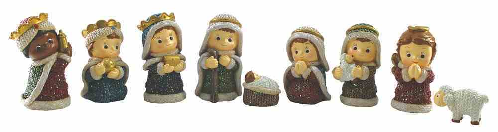 Childrens Resin Coloured Nativity Decor Set of 9, Knitted Finish Look Homeware