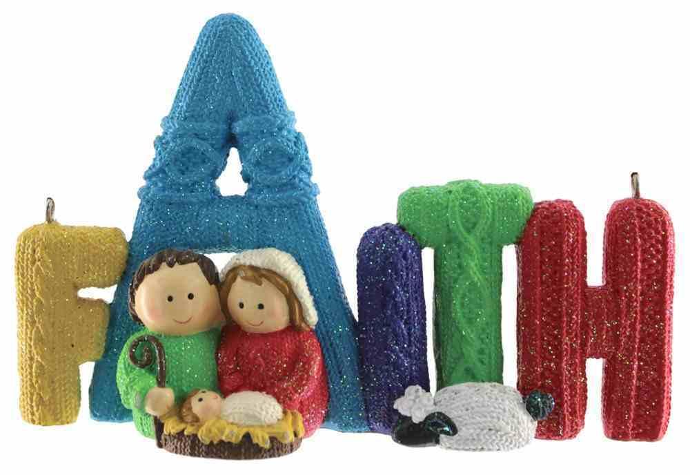 Resin Knitted Finish Holy Family Tree Ornament: Faith, Bright Colours Homeware