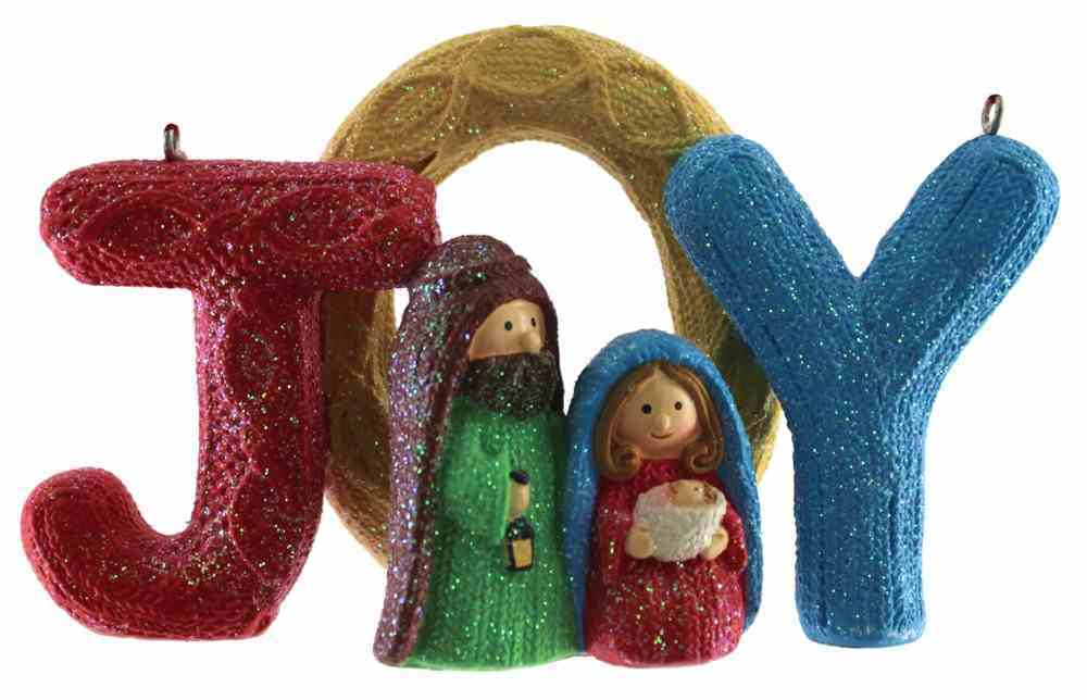 Resin Knitted Finish Holy Family Tree Ornament: Joy, Bright Colours Homeware