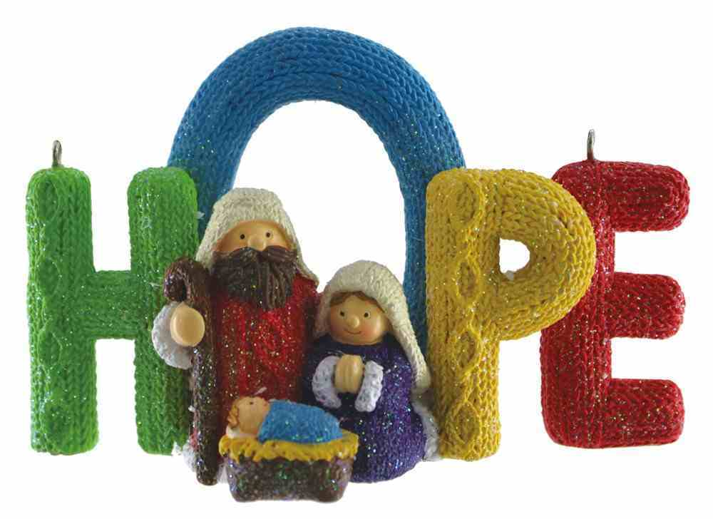 Resin Knitted Finish Holy Family Tree Ornament: Hope, Bright Colours Homeware