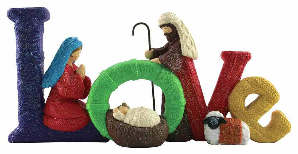 Resin Knitted Finish Holy Family Standing Ornament: Love, Bright Colours Homeware