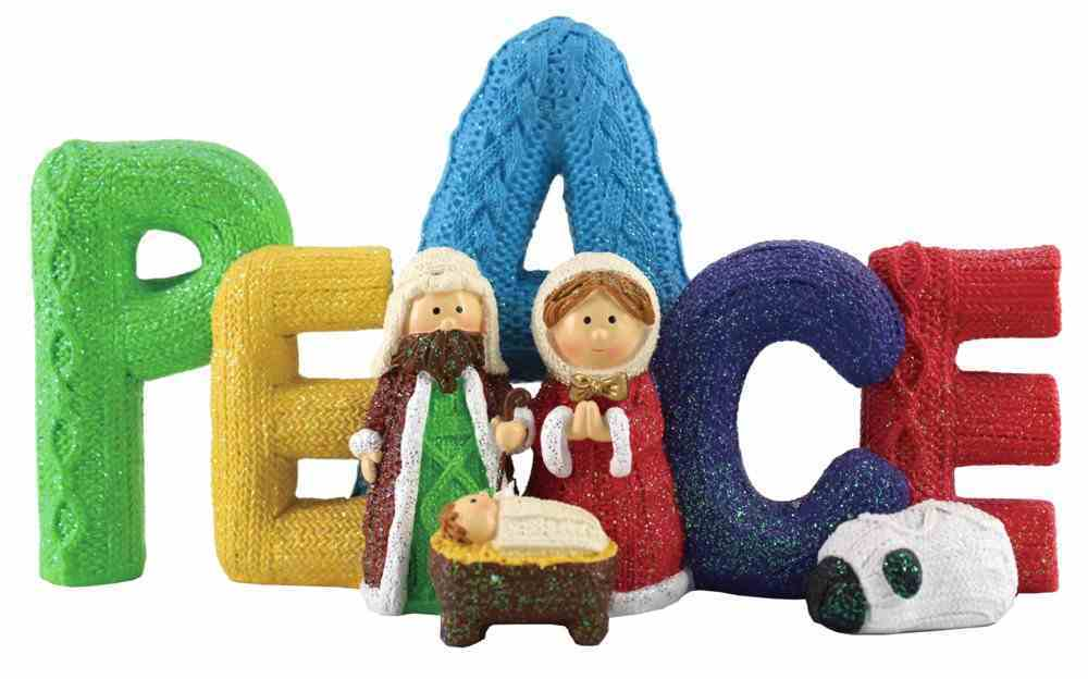 Resin Knitted Finish Holy Family Standing Ornament: Peace, Bright Colours Homeware