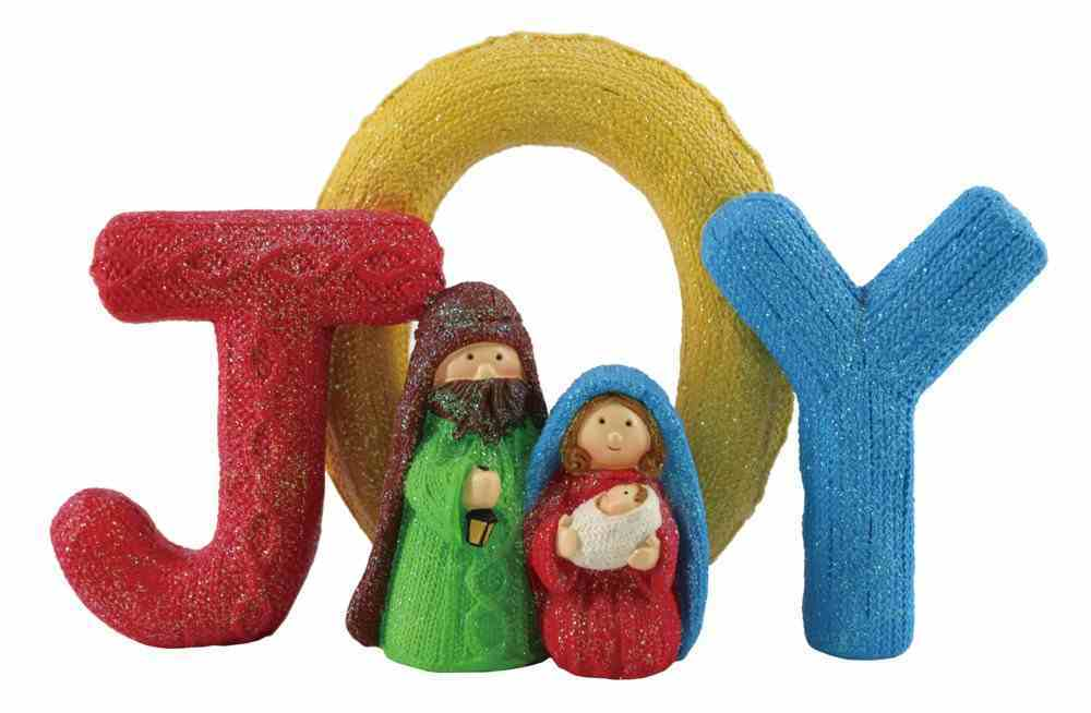 Resin Knitted Finish Holy Family Standing Ornament: Joy, Bright Colours Homeware