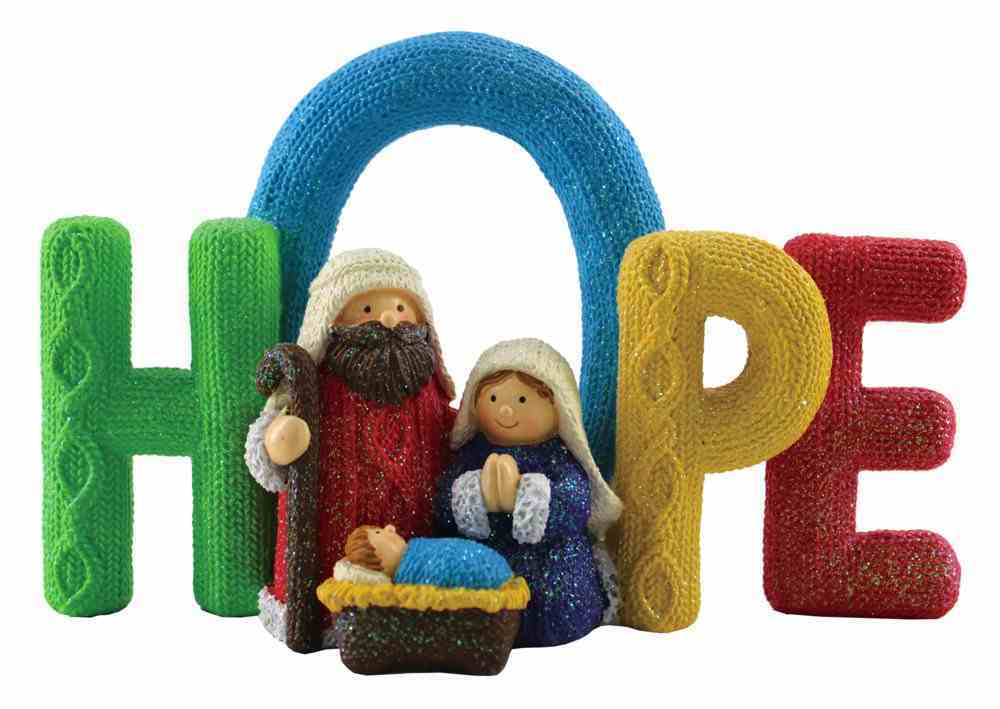 Resin Knitted Finish Holy Family Standing Ornament: Hope, Bright Colours Homeware