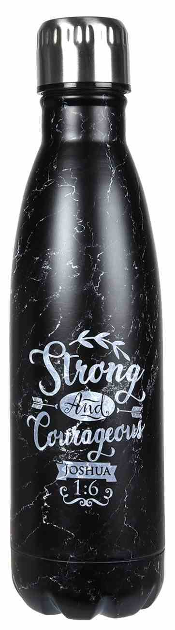 Water Bottle 500ml Stainless Steel: Strong and Courageous, Black Marble Homeware