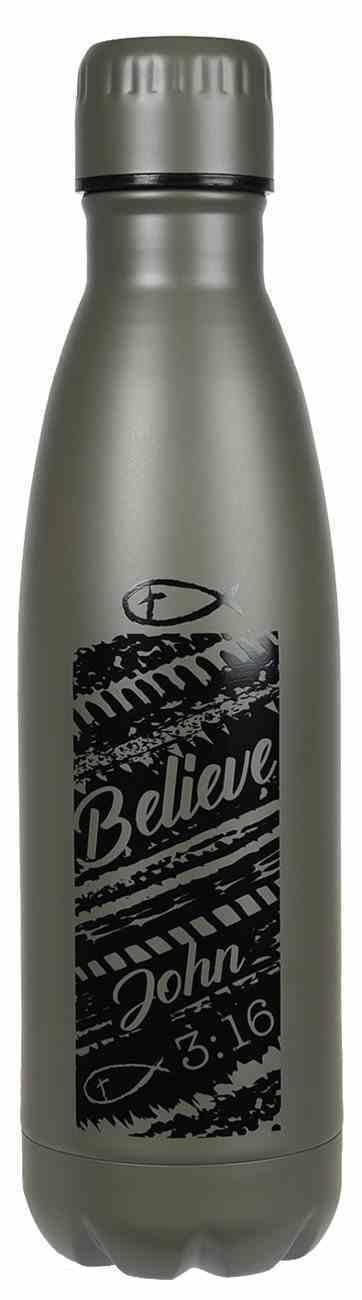 Water Bottle 500ml Stainless Steel: Believe John 3:16, Metal Grey Homeware