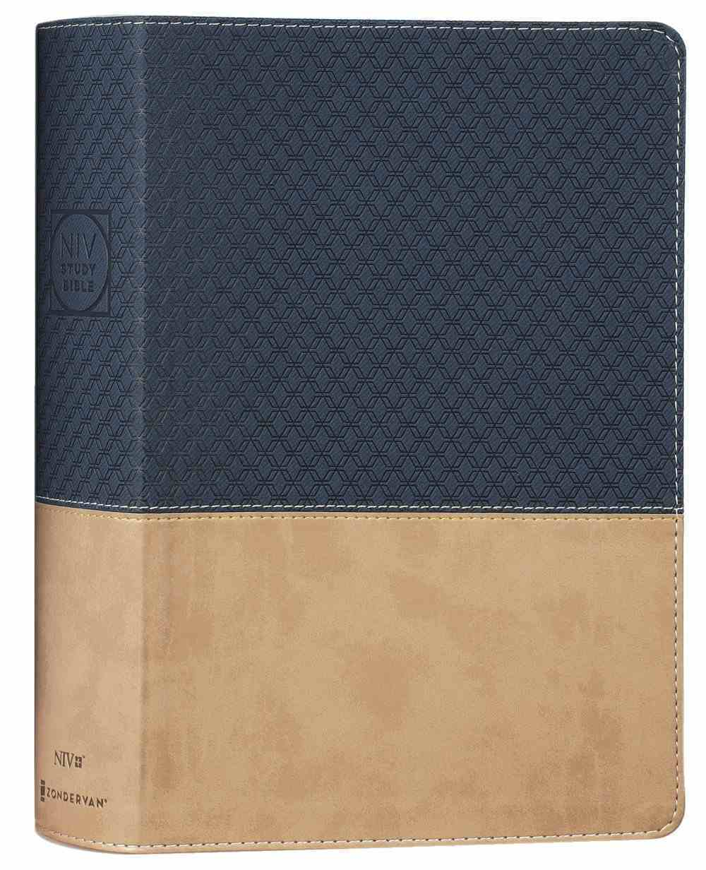 NIV Study Bible Navy/Tan Indexed (Red Letter Edition) Fully Revised Edition (2020) Premium Imitation Leather