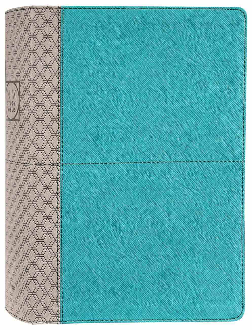 NIV Study Bible Teal/Grey Indexed (Red Letter Edition) Fully Revised Edition (2020) Premium Imitation Leather