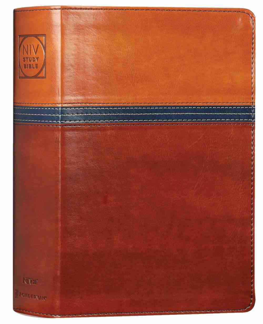 NIV Study Bible Personal Size Brown/Blue (Red Letter Edition) Fully Revised Edition (2020) Premium Imitation Leather