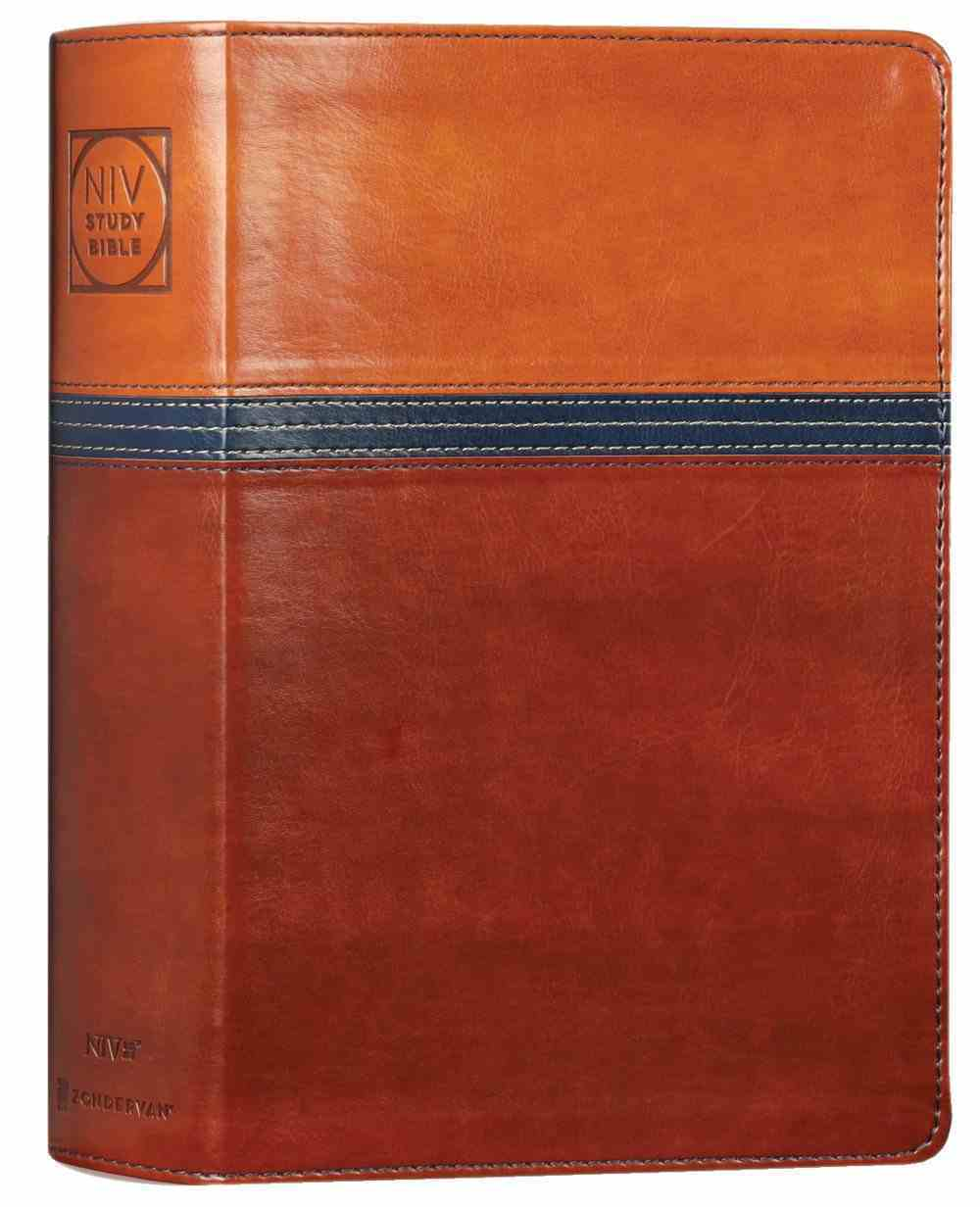 NIV Study Bible Personal Size Brown/Blue Indexed (Red Letter Edition) Fully Revised Edition (2020) Premium Imitation Leather