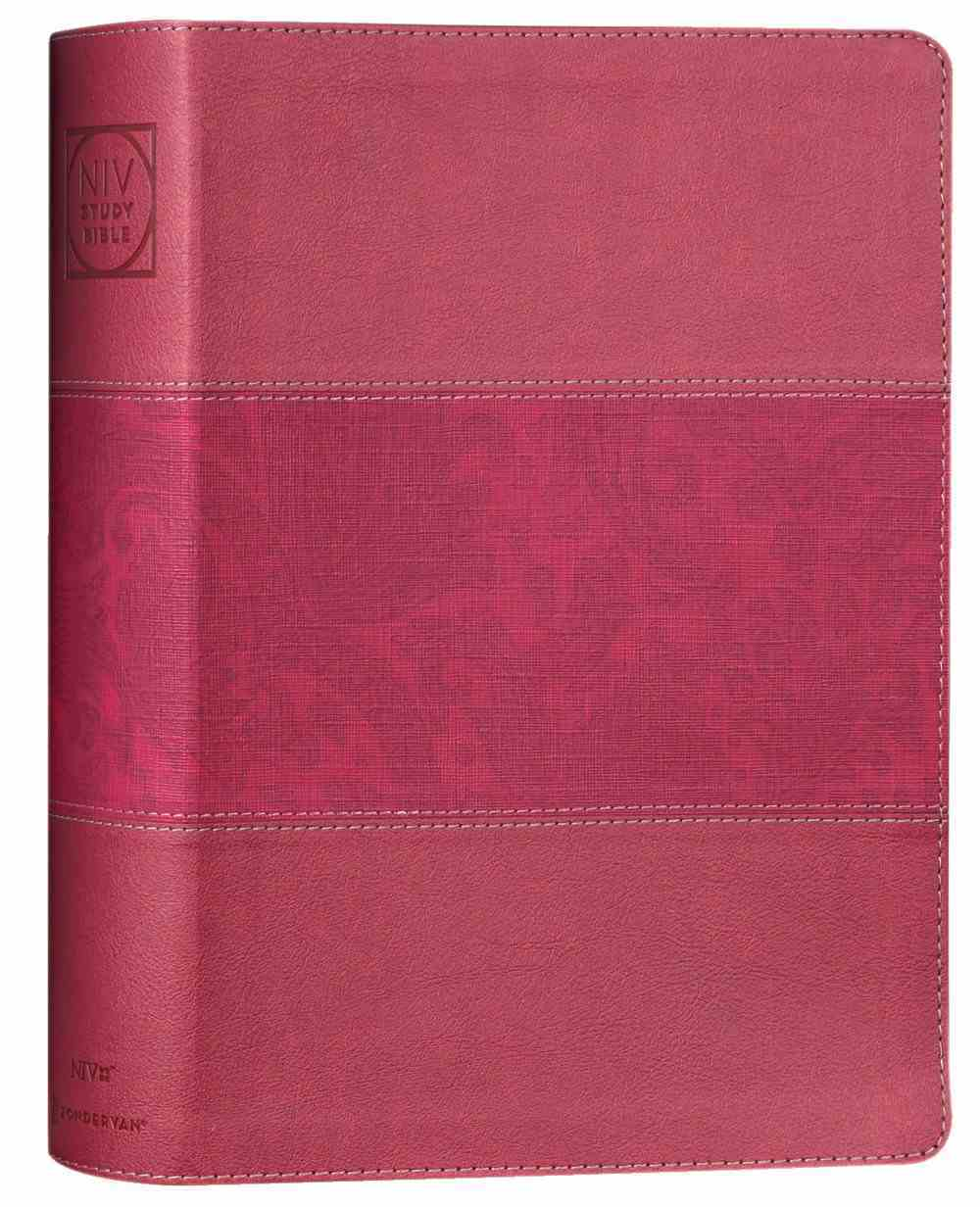 NIV Study Bible Large Print Burgundy Indexed (Red Letter Edition) Fully Revised Edition (2020) Premium Imitation Leather