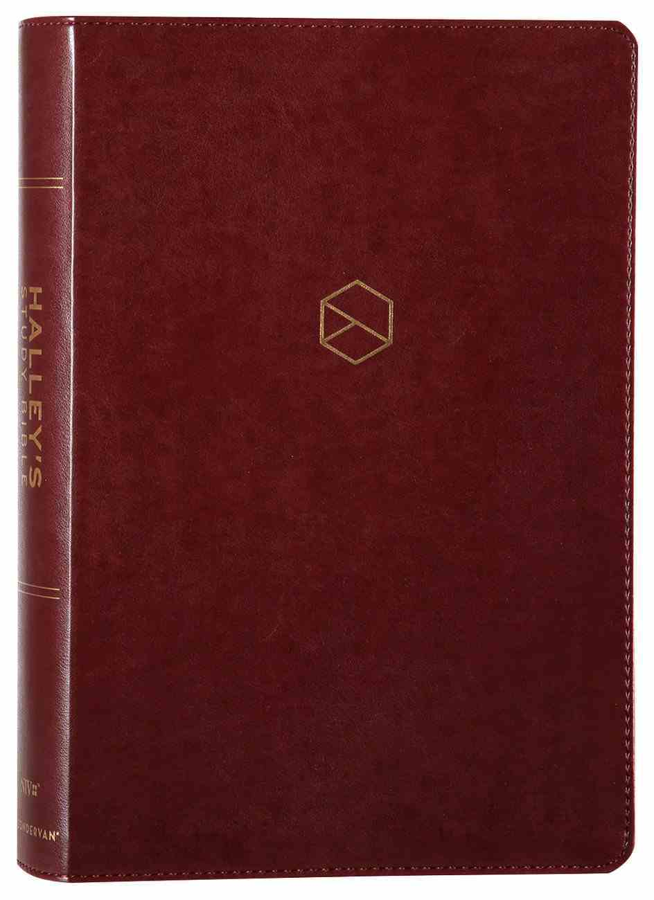 NIV Halley's Study Bible Burgundy (Red Letter Edition) Premium Imitation Leather