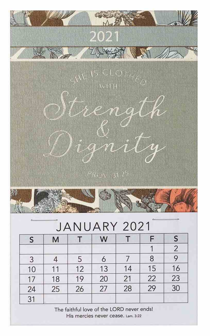 2021 Mini Magnetic Calendar: She is Clothed With Strength and Dignity Calendar