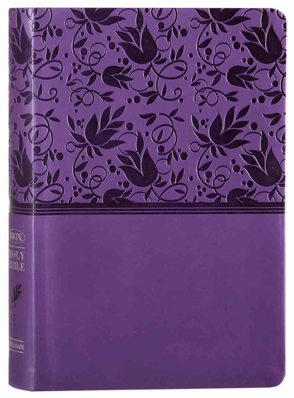 NKJV Large Print Personal Size Reference Bible Purple Premium Imitation Leather
