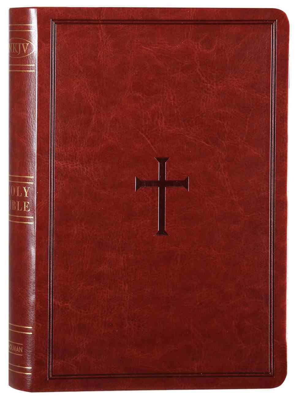 NKJV Large Print Personal Size Reference Bible Brown Premium Imitation Leather