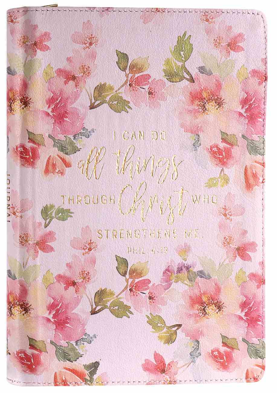 Journal With Zip Closure: I Can Do All Things Through Christ, Floral Imitation Leather