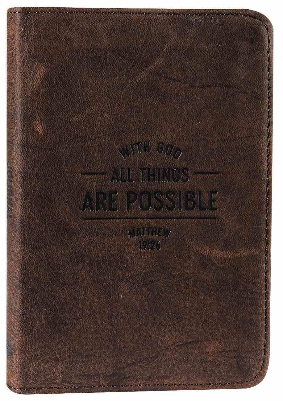 Journal: Genuine Leather Pocket-Sized Journal, With God All Things Are Possible Genuine Leather