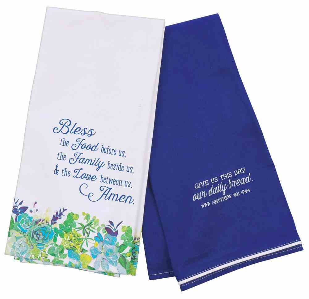 Tea Towel Set: Our Daily Bread Blue Floral (Matt 6:11) (Our Daily Bread Collection) Soft Goods
