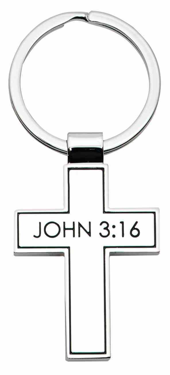 Keyring Metal Cross: John 3:16 Jewellery