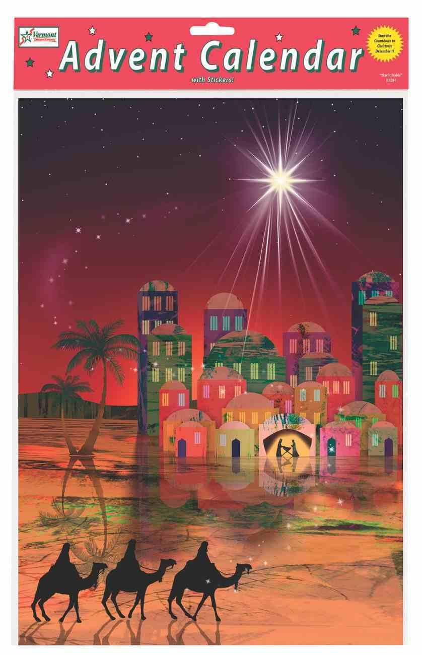 Advent Calendar: Guiding Star, Bible Text Or Nativity Story on Back of Windows Calendar