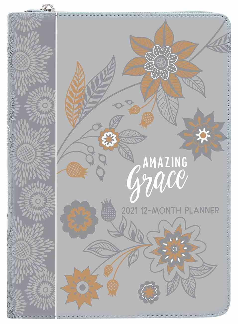 2021 12-Month Weekly Diary/Planner: Amazing Grace (Gray) Imitation Leather