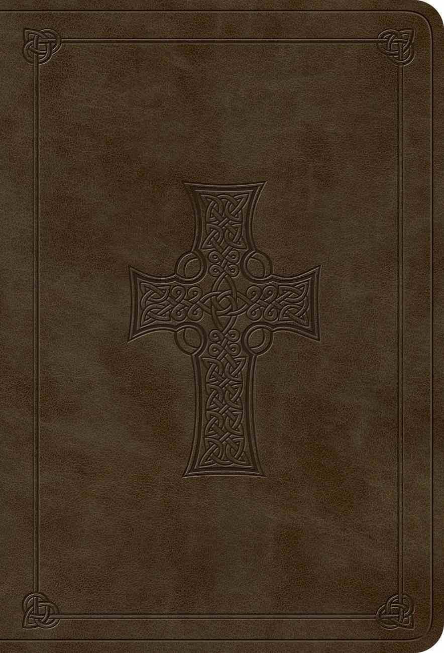 ESV Value Large Print Compact Bible Olive Celtic Cross Design Imitation Leather