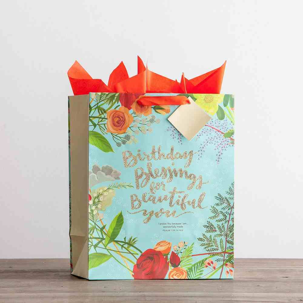 Gift Bag Large: Birthday Blessings (Incl Two Sheets Tissue Paper & Gift Tag) Stationery