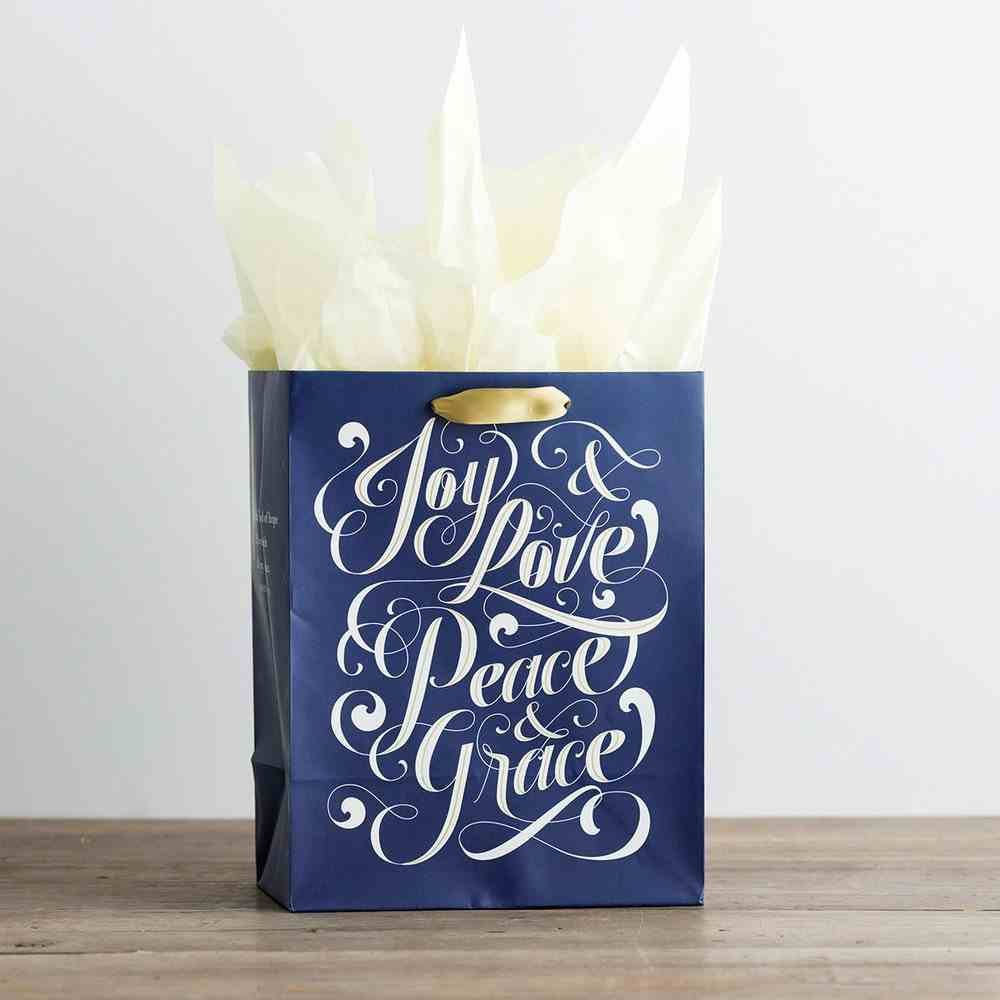 Gift Bag Medium: Joy & Love, Peace & Grace, Navy/White (Incl Two Sheets Tissue Paper & Gift Tag) Stationery